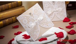 Wholesale Convite Casamento Laser - Lace Bowknot customizable Vintage Laser cut Wedding Invitation White Hollow-out Flowers, convite de casamento DHL free shipping