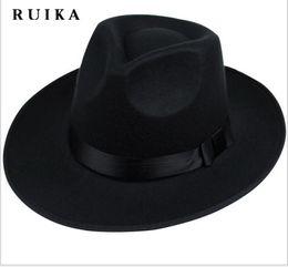 Wholesale Vintage Winter Hats - Wholesale-star wide brim sombreros bowler hoeden maison men vintage black winter chapeu chapeau feutre woolen womens fedoras chapeau femme