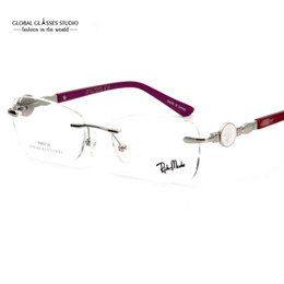 Wholesale Eyeglass Tips - New Fancy Women Famous Brand Classic Rimless Eyeglasses Precious Lady Optical Frame Gold Metal Eyewear Crystal Tip RM0726