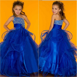 Wholesale Christmas White One Shoulder Dress - 2015 New Arrival Lovely Flower Girls Dresses Royal Blue Organza One Shoulder Beads Sequin Zipper Back Ruffles Cute Girls Pageant Dresses