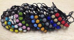 Wholesale Woven Beaded Bracelets Rhinestones - Shamballa Bracelet 5pcs Disco Bead Pave Rhinestone Weaved Nylon Chain Bangle Wristband 50pcs Lot 13 Different Colors
