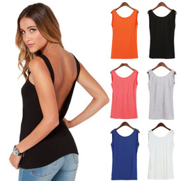 Wholesale Sexy Halter Tops For Women - New Sexy Halter Deep V Back Vest Slim Stretch Camisole Women Cotton Tank Casual Tops Blouses For Nightclub Plus Size 4 Colors Free Shipping