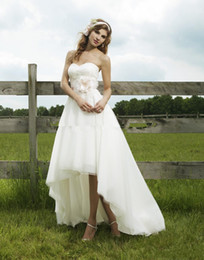 Wholesale Short Strapless Sweetheart Dresses - 2015 A-Line Wedding Dresses Best Selling Hi Lo Strapless Sweetheart Flower White Ivory Beach Organza Wedding Dress Formal Bridal Gown 2016