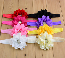 Wholesale Mix Colour Hair - 2016 Infant Baby Hair Accessories Double lotus leaf Pearl Combination Girls Hair Band Kids Headband Babies Toddler Head Band Mix Colour