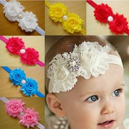 Wholesale Hair Satin Ribbon Flower Head - Shabby Baby Headbands Satin And Chiffon Flower With Pearls Rhinestones Baby Head Bands Girl Kids Hair Bow Ribbon Accessories Free Shipping