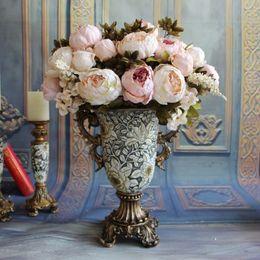 Wholesale Home Decor Decorative Flowers - Decorative Flowers Bunch Artificial Peony Flowers 4 Color Home & Garden Accessories Display Flowers Wedding Centerpieces Decor