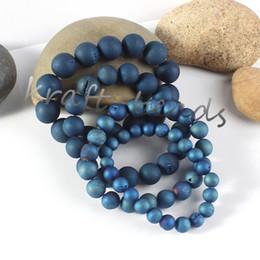 Wholesale Blue Geode - Wholesale 5Pcs Charms Nartural Titanium Quartz Crystal Agate Geode Stone Blue Color Round Shape Beads Stone Bracelets Jewelry