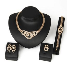 Wholesale Cz Bead 18k Gold Necklace - Jewelry Sets African Beads Collar Statement Necklace Earrings Bracelet Fine Rings For Women CZ Diamond Vintage Party Accessories 18k gold