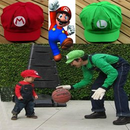 Wholesale mario luigi costumes adults - Wholesale-5pcs New arrival Adult Size Chic Luigi Super Mario Bros Baseball Costume Cosplay Hat Cap New