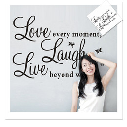 Wholesale Live Moment Decal - High Quality Wall Sticker Love Every Moment Removable PVC Free Shipping 1 Piece 25*70cm