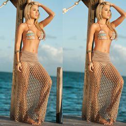 Wholesale Net Crochet - 2015 Net cover Ups in long beach beach dress woman crochet maxi dress sexy beach wrap dress to wear on the beach