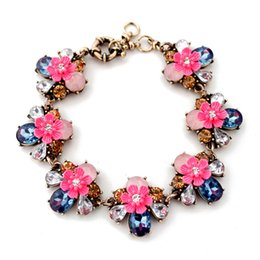 Wholesale Multi Color Flower Ring - New Women Alloy Floral Bracelets Multi Color Rhinestone Flower Fashion Jewelry High Quality for Wholesale Free Shipping