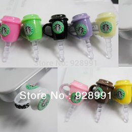 Wholesale Starbucks Phone Dust Plug - Wholesale-starbucks coffee cups and mugs tumbler earphone jack 3.5 mm anti dust plug cell phone accessories for iphone 4 4s