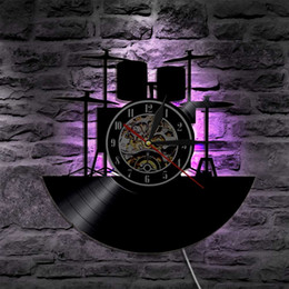 Wholesale Recording Drums - Drum Best Handmade Gifts Home Decor Modern Design Wall Art Decal Sticker Black DIY 3D Led Night light Quartz Vinyl Record Wall Clock