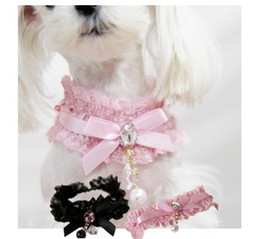 Wholesale Diamond Pearl Ribbon Necklace - Dog Bowtie Lace Ribbon Necklace Pet Cat Puppy Crystal Diamond Pearl Pendant Collar Princess Wedding Necklaces