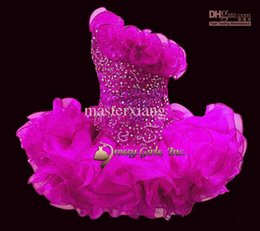 Wholesale Little Girls Ballgown Dresses - Sleeveless Beads toddler mini Infant Cupcakes Organza Ballgown Little kid Wedding Flower Girls dress STATENATIONAL Pageant Dresses custom