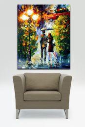 Palettenmesser malerei nacht online-Roamtic Liebhaber Datum Nacht -100% Handgemalte Spachtel Ölgemälde Leinwand Wandkunst für Hotel Office Home Decor