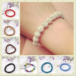Wholesale Macrame Crystal - Shamballa Crystal Beads Bracelets Macrame Disco Ball shiny Stretch Bracelets Jewelry Armband Cheap China Jewelry wrap charm bracelets 100pcs