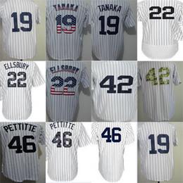 Wholesale Cheap 42 - Cheap 2017 Mens Ladys Youth New York 46 Andy Pettitte 42 Mariano Rivera 22 Jacoby Ellsbury 19 Masahiro Tanaka White Cheap Baseball Jerseys