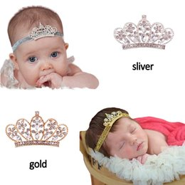 Wholesale Baby Crystal Crowns - free ship Western baby girl elegant headband with crystal crown headband good quality infant girl gold sliver crown hairband 20pcs lot
