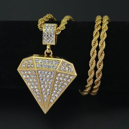 Wholesale Initial Diamond Pendants - New Fashion Jewelry Men Iced out Hip hop necklace Diamond-Shape pendant 5mm 30inch Rope Chain N541