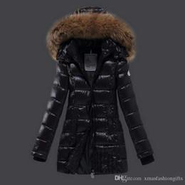 Wholesale Ladies Warm Winter Coat - Winter Down Jackets Women m Brand Designer Long monclair Hoody with Fur Casual Slim ladies cold Parka Warm Fashion Outwear Top Coat