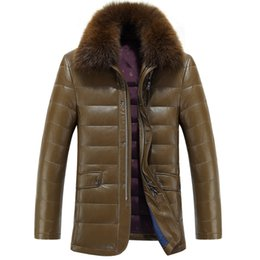 Wholesale Green Leather Jackets For Men - New Winter Leather Jacket For Men 2015 Fashion Men's Slim Fit Leather Fur Jackets Mens Thicken Coats Plus Size M-3XL