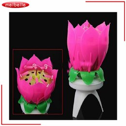 Wholesale Musical Lights For Christmas - Wholesale- Musical Lotus Flower 8 Candles For Children Birthday Romantic Party Light Yankee Candle Christmas Velas Decorativas Casamento