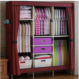 Wholesale Box Cabinets - Free Shipping! Triple Portable Clothes Wardrobe Closet Cabinet Garment Rack with 2 Free Storage Boxes Home Furniture