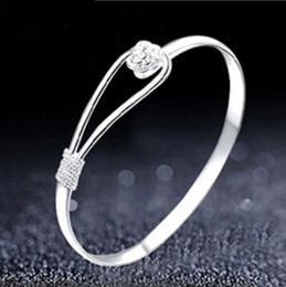 Wholesale 925 Link Bracelet - Romantic flower bracelet 925 sterling silver bracelet for women wholesale valentine star with money to send his girlfriend