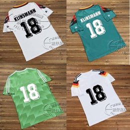 Wholesale Germany Away - Retro Soccer Jersey 88 West Germany Away Green Matthaus Klinsmann 90 94 Throwback 1988 1990 1994 Vintage Classical Kits Football Shirts