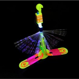 new helicopter Australia - Wholesale- Christmas LED Light Fiber Rocket Arrow Flashing Helicopter Flying Toy Party Fun Gifts For Kids Birthday Party Supplies New Year