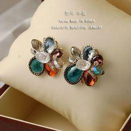 Wholesale Shell Earings - colorufl shell crystal flower lady's earings(2.7*2.8cm) (woniu152))