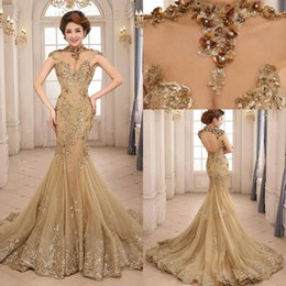 Wholesale Luxury Gold Sequins Evening Dress - 2015 Luxury Mermaid Evening Dresses Backless Court Train Sequin Sheer Neck See Through Formal Prom Dress Beauty Queen Pageant Dress Gowns