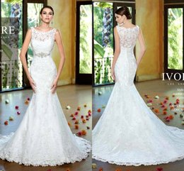 Wholesale Lace Beaded See Through Dress - 2016 Sheer Full Lace Mermaid Wedding Dresses Jewel Neck Appliques Beaded Sash Elegant Spring Summer Bridal Gowns See Through Back V1330