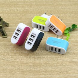 Wholesale Iphone Orange Charger - black orange blue green red colors 3 USB Candies Wall Charger for cell phone 50pcs free shipping