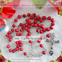 Wholesale Rosary Saints - Wholesale-free ship 9pcs pack perfume rose scented rosary necklace  pink bead rosary with virgin mary center and plastic saint box
