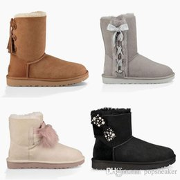 Wholesale Ladies Warm Boots - 2017 New Snow Boots Bow Australia Fashion Women Winter Boot Bailey Xmas Ladies Bowknot Outdoor Shoes U Warm Christmas UG Low Boots