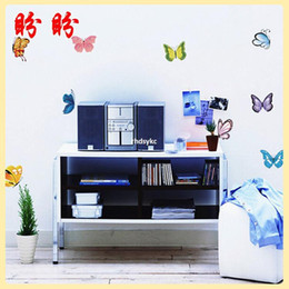 Wholesale Cheap Wall Art Decor - 10pcs wall stickers home decor Warm multicolored glass butterfly wall stickers Cheap stickers romantic wedding room living room bedroom bath