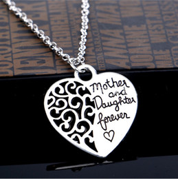 "Wholesale Cheap Charms For Necklaces - 2016 Hollow Out Charm Cheap Fashion Jewelry ""Mother And Daughter Forever Love"" Necklaces Charm Heart Family Gift Pendant Necklace For Women"