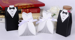 Wholesale Bride Groom New Dolls - 100Pcs Wedding Favor Candy Holder Box Bride & Groom Dress hard paper board & ribbon Tuxedo Three option Party w  Ribbon Gift new arrival