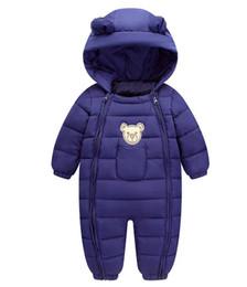 Wholesale 5t Snowsuit - baby infant boy clothe winter rompers onesies overalls jumpsuits hoodie snowsuit down parka coat jacket warm 1-4T 6-18 months