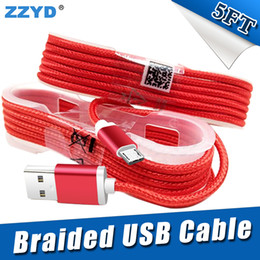 Wholesale Braid Wholesalers - ZZYD 1.5M 5FT Braided USB Micro Charger durable type C Cable For Samsung HTC Sony LG Phones With Metal Head Plug