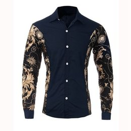 Wholesale Black Fitted Shirt Dress - 3 Colors 2016 New Spring Mens Stylish Floral Stitching Long Sleeve Luxury Shirt Male Slim Fit Formal Dress Shirt Size L-XXL