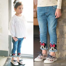 Wholesale Dress Denim Minnie - Minnie Denim Trouser Korean Girl Dress Fashion Blue Jeans Kids Pants 2016 Spring Kid Girls Jeans Children Clothes Kids Clothing Ciao C21741