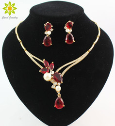 Wholesale blue crystal jewelry set - 18K Gold Plated Black Blue Red Purple Zircon Beads Crystal Pendants Necklace Earring Sets Fashion Women Party Jewelry Sets