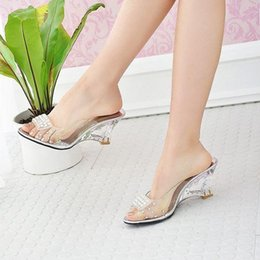 Wholesale Cheap Silver Wedge Heels - Top Fashion Cheap New Women Slippers Wedge Heels Crystal Sandals Slippers Plus Size Rhinestone Sandals 34-43 Free Shipping