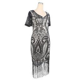 Wholesale Short Dress Fringes - Elegant Womens Evening Party Short Sleeve Lace Pattern Tassel Hem Stretchy Sheath Bodycon Fringe Dresses Plus Size