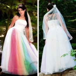 Wholesale Exotic Gown Dresses - Cheap Colorful Outdoor Rainbow Gothic Wedding Dresses For Women Strapless Tulle Red Purple Blue Exotic Bridal Gowns Vestidos De Noiva