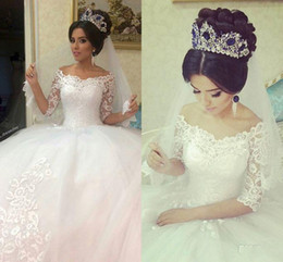 Wholesale Half Balls - Ball Gowns Wedding Dresses Vintage Bateau Half Sleeves Lace Appliques Tulle Wedding Gowns Tiered Illusion White Dress Wedding